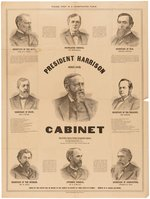 """PRESIDENT HARRISON AND HIS CABINET"" ADVERTISING POSTER."