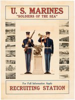 "WORLD WAR I ""U.S. MARINES - 'SOLDIERS OF THE SEA'"" LINEN-MOUNTED RECRUITMENT POSTER."