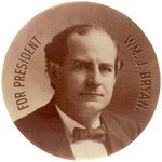 """FOR PRESIDENT WM. J. BRYAN"" SEPIA TONED REAL PHOTO BUTTON HAKE #3213"
