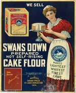 """SWANS DOWN CAKE FLOUR"" LARGE TIN ADVERTISING SIGN."