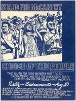 "RARE ""STAND FOR McCARTHY CHOICE OF THE PEOPLE"" SACRAMENTO, CA SINGLE DAY EVENT POSTER."