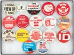 DODGE CAR BUTTONS (16) 1960s-1980s PLUS ONE FOR PLYMOUTH RELIANT K-CAR.