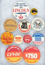 LINCOLN AND MERCURY 11 BUTTONS 1957 TO MID 1980s WITH MANY RARITIES.