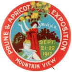 PRUNE & APRICOT EXPOSTION RARE BUTTON FROM 1917 MOUNTAIN VIEW, CA. EVENT.