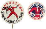 CAPTAIN MARVEL AMERICAN CLUB BUTTON SET.