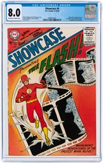 """SHOWCASE"" #4 SEPTEMBER-OCTOBER 1956 CGC 8.0 VF (FIRST SILVER AGE FLASH)."
