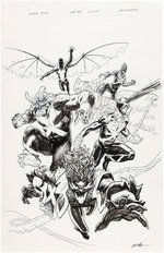 """X-MEN BLUE"" ANNUAL #1 VENOMIZED VARIANT COVER PENCILS & INKED ORIGINAL ART BY MIKE HAWTHORNE."