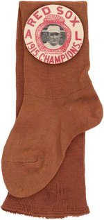 "1915 ""BOSTON RED SOX A.L. CHAMPIONS"" W/BILL CARRIGAN LARGE BUTTON ON FABRIC RED STOCKING."