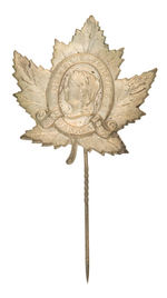 "LARGE EMBOSSED SHELL STICKPIN ""QUEEN'S JUBILEE CANADA 1837/1887."""