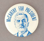 """McCARTHY FOR PRESIDENT"" 1968 BLUETONE PORTRAIT BUTTON."