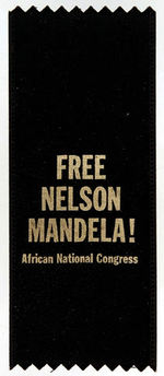 """FREE NELSON MANDELA!  AFRICAN NATIONAL CONGRESS"" RIBBON."