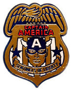 """CAPTAIN AMERICA - SENTINELS OF LIBERTY"" PLASTIC RE-ISSUE BADGE."