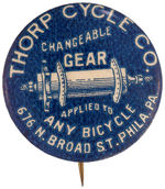 "CPB BICYCLES #117 ""THORP CYCLE CO CHANGABLE GEAR"" BUTTON."