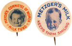 CPB DAIRY PRODUCTS #398 AND 401 MILK BUTTONS FEATURING CHILDREN.