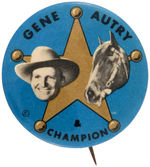CPB COWBOY BUTTON #359 GENE AUTRY AND CHAMPION.