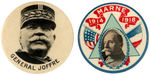 CPB WORLD WAR I PAIR FRENCH GEN. JOFFRE #177 AND GENERAL FOCH #180 BUTTONS.