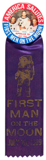 """FIRST MEN ON THE MOON"" 1969 BUTTON WITH RIBBON"