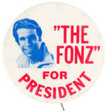 """THE FONZ FOR PRESIDENT"" 1976 BUTTON"