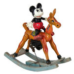 MICKEY MOUSE ON ROCKING HORSE EARLY 1930s CELLO AND WOOD WIND-UP.