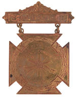 """NEW YORK STATE 1896 FIREMEN'S CONVENTION"" BRASS BADGE."