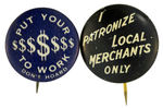 PAIR OF 1930s ANTI-ECONOMIC DEPRESSION BUTTONS FROM HAKE COLLECTION AND CPB.