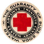 BOTTLER'S EARLY BUTTON WITH RED CROSS DESIGN.