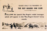 """ROY ROGERS CODE CARD"" COMIC BOOK PROMO,"