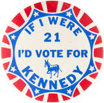 JFK 1960 SLOGAN BUTTON.
