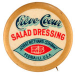 "GRAPHIC TEXT EARLY BUTTON FOR ""CREVE-COEUR SALAD DRESSING."""