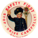 OUR GANG 1930s PORTRAIT BUTTON OF SPANK AS POLICEMAN.