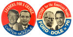 JUGATE BUTTON PAIR FOR 1976 CANDIDATES CARTER VS. FORD