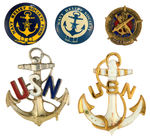 FIVE U.S. NAVY WWII BUTTONS AND PINS