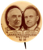 HARDING AND COOLIDGE SCARCE 1920 JUGATE BUTTON.