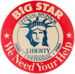 STATUE OF LIBERTY CENTENNIAL SPONSORSHIP BUTTON.