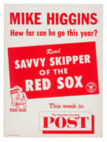 BOSTON RED SOX MANAGER HIGGINS NEWS STAND SIGN.