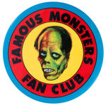 """FAMOUS MONSTERS FAN CLUB"" 1973 PROMO BUTTON FROM WARREN PUBLISHING CO."