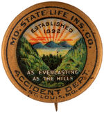 "CPB INSURANCE #569 ""MO. STATE LIFE INS. CO."" BUTTON."