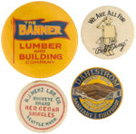 CPB BUILDING PRODUCTS #48, 50, 56 AND 69 ADVERTISING BUTTONS.