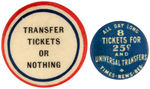 CPB TROLLEY'S #186 AND 189 TRANSFER AND TICKET EARLY 1900's BUTTONS.