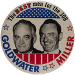 GOLDWATER/MILLER 1964 JUGATE CAMPAIGN BUTTON.