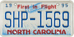 """NORTH CAROLINA STATE HIGHWAY PATROL"" METAL LICENSE PLATE WITH ORIGINAL MAILER."