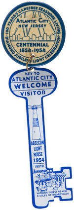 ATLANTIC CITY 100 YEARS 1954 BUTTON WITH GIANT CELLO KEY.