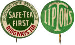 "CPB TEA #284 AND 287 ""RIDGWAYS TEA"" AND ""LIPTONS"" ADVERTISING BUTTONS."