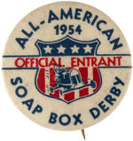 "CPB MISC SPORTS #140 ""ALL AMERICAN SOAP BOX DERBY OFFICAL ENTRANT 1954"" BUTTON."