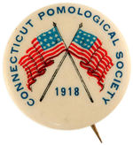 """CONNECTICUT POMOLOGICAL SOCIETY 1918"" WITH WORLD WAR I PATRIOTIC CROSSED AMERICAN FLAGS."