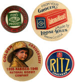 CPB FOOD #117, 121, 124 AND127 CRACKER COMPANY BUTTONS.