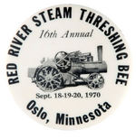 """RED RIVER STEAM THRESHING BEE"" 1970 ""OSLO MINNESOTA"" EVENT BUTTON."