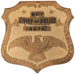 """BOY/CHIEF OF POLICE/ 146751"" MID-1930S BRASS RADIO PREMIUM STYLE BADGE"