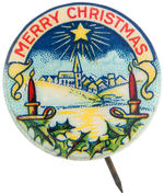 """MERRY CHRISTMAS"" BEAUTIFULLY COLORED BUTTON FROM AMERICAN BAPTIST PUBLICATION SOCIETY."