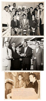 JOE LOUIS GROUP OF FOUR NEWS SERVICE PHOTOS AND ONE PUBLICITY PHOTO.